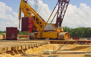Crane On Digger Mats